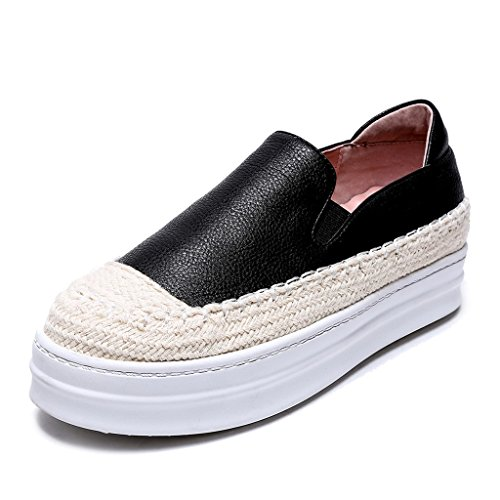 RoseG Women's Leather Platform Espadrilles Slip-On Trainers Black