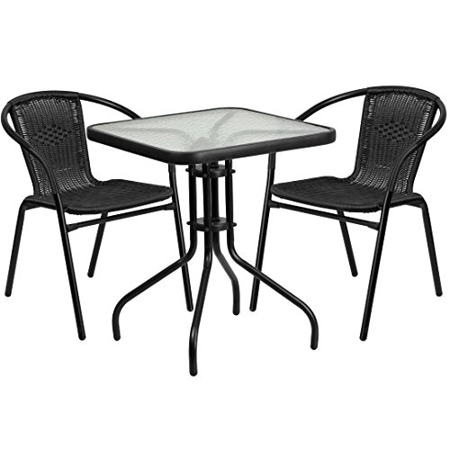 MFO 23.5'' Square Glass Metal Table with 2 Black Rattan Stack Chairs