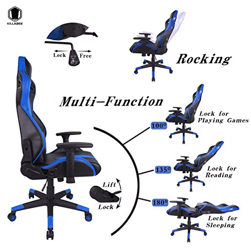 51rB58hosyL - KILLABEE-Racing-Gaming-Chair-Ergonomic-High-Back-PU-Leather-Office-Chair-Computer-Desk-Swivel-Chair-with-Headrest-and-Lumbar-Support-Blue