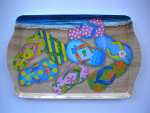 "15"" Beach Flip Flops Handled Melamine Serving Tray"