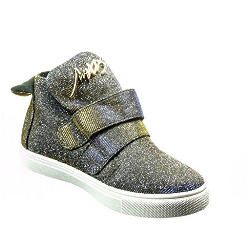 Angkorly - damen Schuhe Sneaker - Hohe - Strass - golden - glitzer Blockabsatz 2 CM - Blau