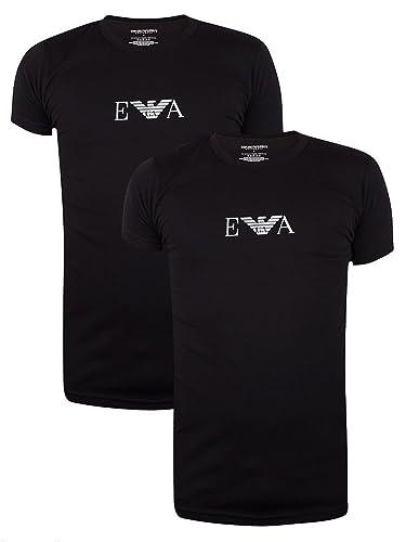 363b6ad0 Emporio Armani Stretch BI-Pack Crew Neck T-shirt, Black/White: Armani:  Amazon.co.uk: Clothing
