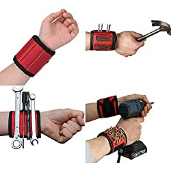 Magnetic Wristband, Premium Quality Super Strong Magnets Holds, Adjustable Touch Fastener Strap for Holding Tools, Screws, Nails, Bolts, Drilling Bits and Small tools(Magnetic Wristband-Red)