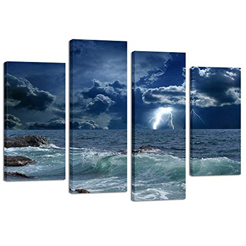 Kreative Arts - 4 Panels Large Seascape Lightning on Storm Ocean Picture Print on Canvas Art Prints Giclee Art Work for Home & Office Decoration - Wild Winds and Huge Waves Sea Wave Wall Art Decor