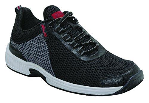 Orthofeet Edgewater Comfort Orthopedic Orthotic Mens Diabetic Sneakers Leather Black Leather 12 XW US