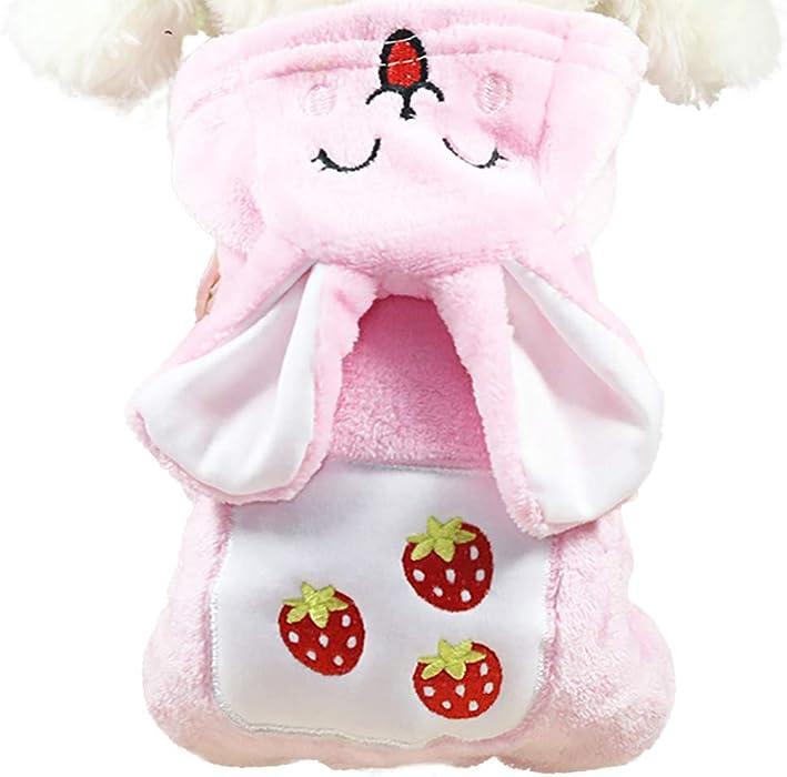 Ropa para Mascotas,Dragon868 Adorable Kawaii Fresa Conejo Caliente Invierno Mascotas Perros Abrigos
