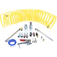 Blesiya Air Compressor Accessory Kit, 1/4 NPT Air Tool Kit with 1/4x25Ft Coil Nylon Hose/Blow Gun