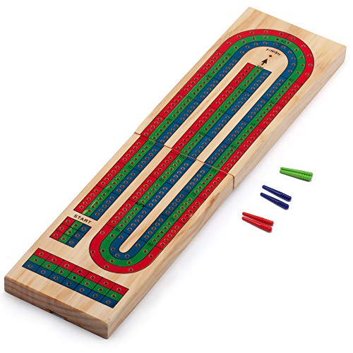 GSE Games & Sports Expert Wooden Folding 3-Track Color Coded Cribbage Board (Folding Cribbage Board)
