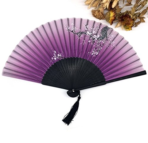Purple Silk Bamboo Folding Hand Fan Fabric Floral Outdoor Dancing Wedding Party Favor Decoration by Hand Fan