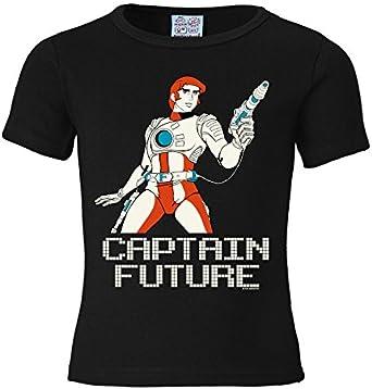 Logoshirt Capitaine Flam Captain Future T-Shirt Enfant gar/çon Design Original sous Licence Noir