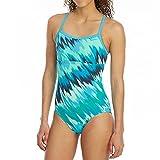 NIKE Women'S Immiscible Print Racerback Sport ONE-Piece Swimsuit (Large, Blue Fury)