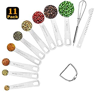 Measuring Spoons Stainless Steel, Set of 11, Includes 9 Stainless Steel Metal Measuring Spoons, Leveler and Whisk, Kitchen Measuring Tools Set for Cooking Baking