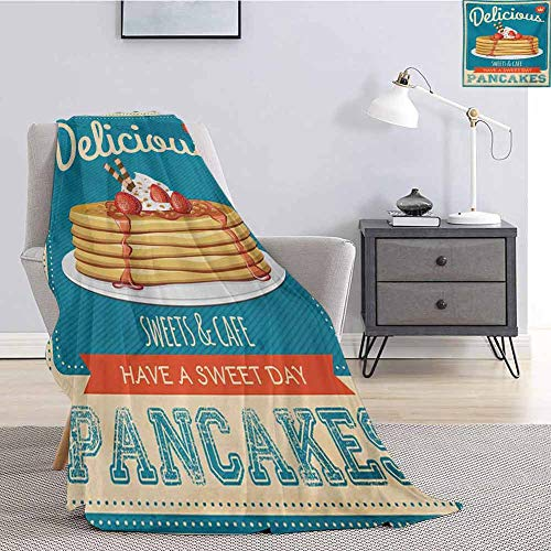 Vintage Luxury Special Grade Blanket Delicious Pancakes with Cream and Jam Eighties Diner Flyer Design Multi-Purpose use for Sofas etc. W80 by L60 Inch Cream Pale Brown and Blue
