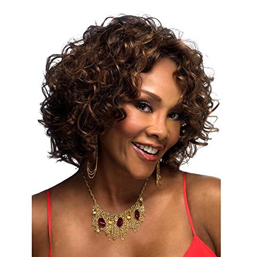 QWERT Co. WANG Full Short Curly Kinky Wig Fashion Glueless Brazilian Human Hair Side Part Natural Color For Women ()