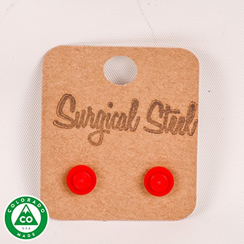 Red LEGO Round Stud Earrings