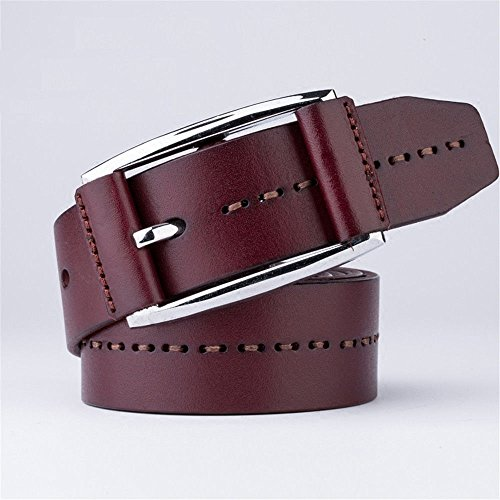 ZHANGYONG Men's Fashion Retro Casual Bag Buckle Buckle Leather Belt Needle Layer Men's Jeans Male Leather Belt,Gules,125cm