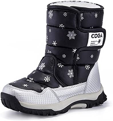 JACKSHIBO Girls Boys Outdoor Waterproof Winter Snow Boots,Black,10 M US Toddler/16.5 cm/27