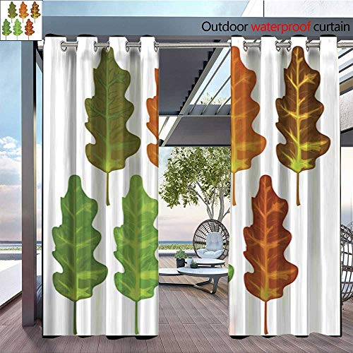BlountDecor Outdoor Blackout Curtains Fall Leaves 03 Outdoor Privacy Porch Curtains W84 x L108/Pair