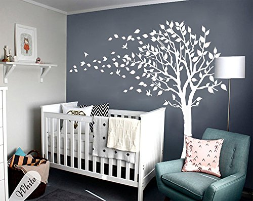 Large Tree Blowing in the Wind Tree Wall Decals Wall Sticker Vinyl Art Kids Rooms Teen Girls Boys Wallpaper Murals Sticker Wall Stickers Nursery Decor Nursery Decals (White-left)