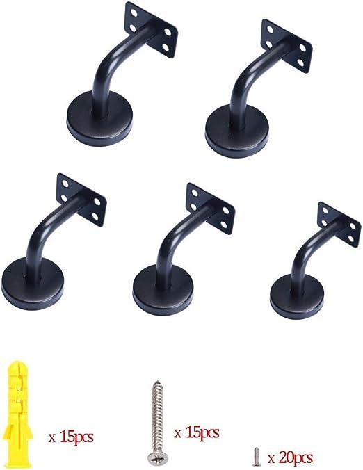 Stabile Handlauf-Halterung schwarz 5 St/ück Treppen-Handlauf solide Gel/änder-Halterung flaches Gelenk