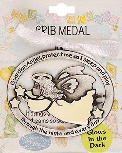 Guardian Angel Crib Medallion (Guardian Angel Gifts - Luminous Guardian Angel Crib Medal with White Ribbon)