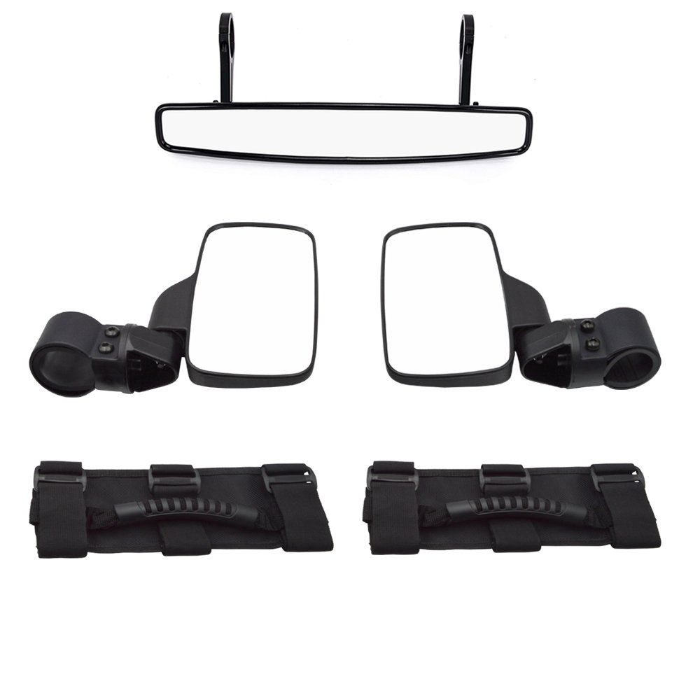 Dasen UTV Center View Mirror for 1.75' Horizontal Cross Bars and A-Pillar Rear Mirrors w/Grab Handle Set Fit Polaris Ranger RZR 570 800 900 1000 XP Kawasaki Arctic Cat