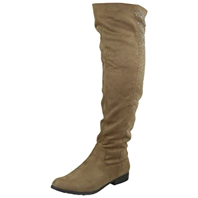 51ed517fc07 Womens Ladies Suede Mid Calf Knee High Boots Diamante Long Low Heel Shoes  Size 5  Amazon.co.uk  Shoes   Bags