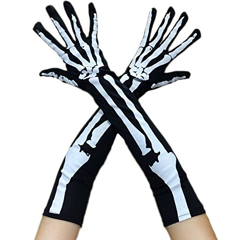 Cosplay Accessories (Ealafee Men Halloween Black Bone Gloves Cosplay Accessory Ghost Festival Gloves)