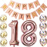 18th Birthday decorations Party supplies-18th Birthday Balloons Rose Gold,18th birthday banner,Table Confetti decorations,18th birthday gifts for girls,use them as Props for Photos
