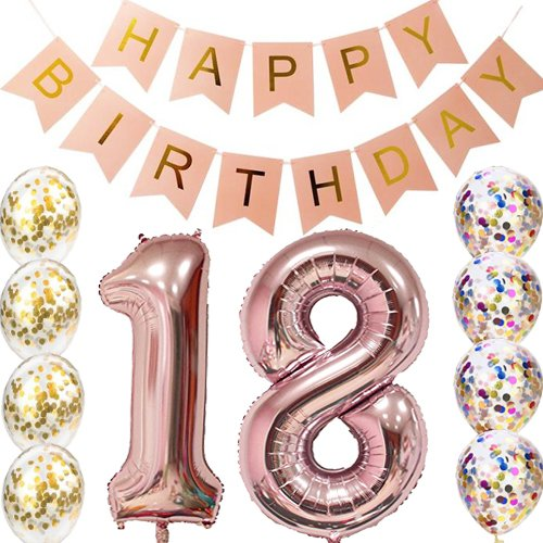 18th Birthday decorations Party supplies-18th Birthday Balloons Rose Gold,18th birthday banner,Table Confetti decorations,18th birthday gifts for girls,use them as Props for Photos ()