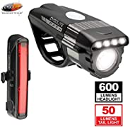 CYGOLITE Dash Pro 600 Lumen Headlight & Hotrod 50 Lumen Tail Light USB Rechargeable Bicycle Light Combo