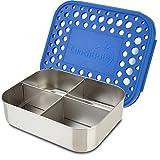 LunchBots - Recipiente para aperitivos (acero inoxidable, 4 secciones), Azul (Blue Dogs)