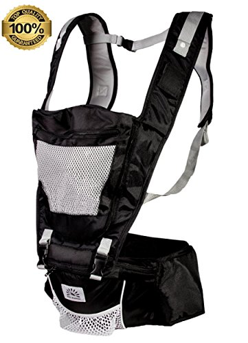 Babi Bambino Best New Style Baby Ergonomic Carrier Sling Soft Hip Seat Hood and Headphone Port Best Black - new longer waist belt
