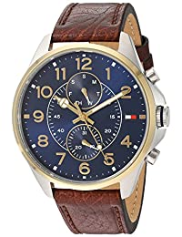 Tommy Hilfiger Men's Quartz Stainless Steel and Leather Automatic Watch, Color: Brown (Model: 1791275)