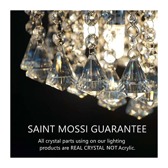 Saint Mossi Chandelier Modern K9 Crystal Raindrop Chandelier Lighting Flush Mount LED Ceiling Light Fixture for Dining… - Bulb Specification: 3 x E12 x Max 40W, Bulb Not Included. Full Assembly Required with time and effort. Product Dimensions: 16 x 16 x 11 inches -- Canopy Diameter: 6 in The Amazing flush mount K9 Crystal modern Rain Drop Chandelier Lighting is a gorgeous ceiling light fixture which is far more stunning than the picture. Solidly built with superior quality materials -- first-class crystal class raindrop & brightly stainless steel, the modern contemporary chandelier pendant lamp quality is guaranteed. - kitchen-dining-room-decor, kitchen-dining-room, chandeliers-lighting - 51rB9PFyN6L. SS570  -