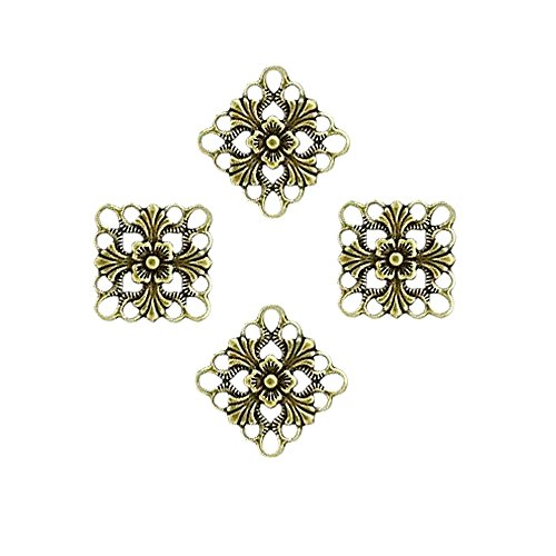 SQUARE DIAMOND LINK CONNECTOR CHARM 20x20mm FILIGREE CUT OUT 10pc FREE SHIPPING (Antique Gold)