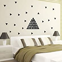 SHP-ZONE Fashion 3D Black 73PCS Triangles DIY Removable Art Wall Stickers Mural Vinyl PVC Design Home Decal Decor for Bedroom Living Room Background Home Decoration