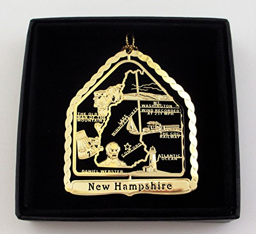New Hampshire State Brass Ornament Black Leatherette Gift - Black State Washington Lake