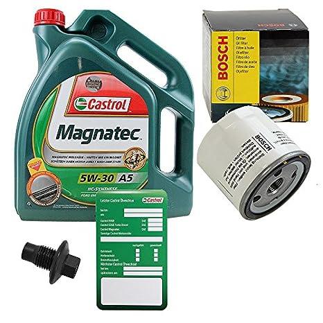 1x Filtro de aceite BOSCH + 5 L Castrol MAGNATEC 5W-30 A5 FORD C
