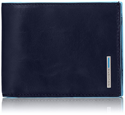 Piquadro Leather Man's Wallet with Coin Purse Case and Credit Cards Slots, Dark Blue, One Size by Piquadro