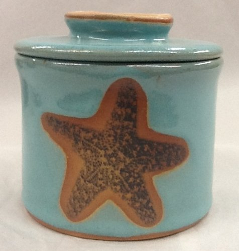 French Butter Keeper with Star Fish Design in Turquoise Glaze