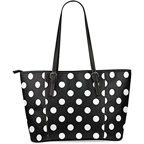 InterestPrint Black and White Polka Dot Women's Leather Tote Shoulder Bags Handbags