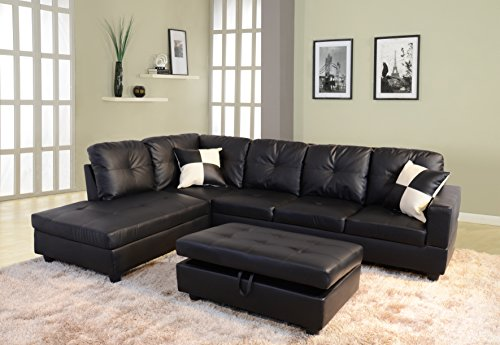 Beverly Furniture 3 Piece Faux Leather Right-facing Sectional Sofa Set with Storage Ottoman, Black
