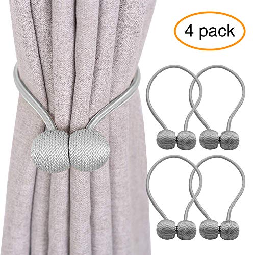 YOBAYE Magnetic Curtain Tiebacks, 4 Pack Drape Tie Backs Decorative Curtain Rope Holdbacks for Home Kitchen Office Window Drapes, No Drilling & Holes Required,Silver -