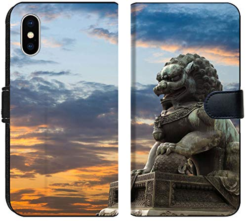 Apple iPhone Xs MAX Flip Fabric Wallet Case Image ID: 10463217 Majestic Lion Statue with Sunset Glow Traditional Chinese Culture sy (For Chinese Sale Statue Lion)