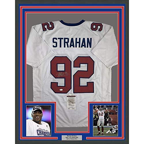 (Framed Autographed/Signed Michael Strahan 33x42 New York White Football Jersey JSA COA)