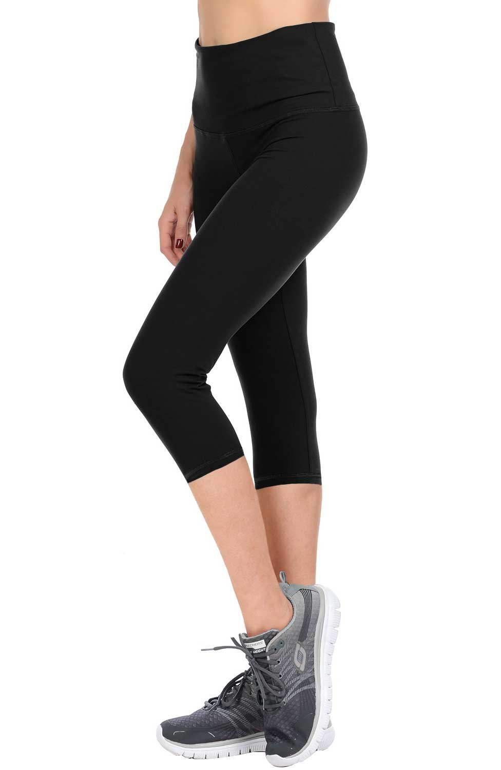 VIV Collection Solid Brushed Capris Cropped Leggings Yoga Waistband (Black, Plus)