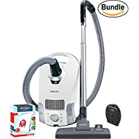 Miele Compact C1 Pure Suction Canister Vacuum, Lotus White - ReVIVE Rapid Dual USB 6 Outlet Wall AC Adapter, & 10123220 AirClean 3D Efficiency Dust Bag, Type FJM, 4 Bags & 2 Filters (Bundle)