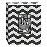 Pioneer Photo Albums CHEV-100 Chevron Fabric Frame Photo Album with 100 Pockets Hold, 4 x 6'', Black/White