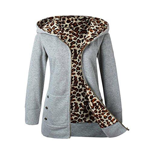 Mose New Fashion Women Plus Size Long Sleeve Winter Warm Velvet Thicker Hooded Leopard Zipper Coat Overcoat